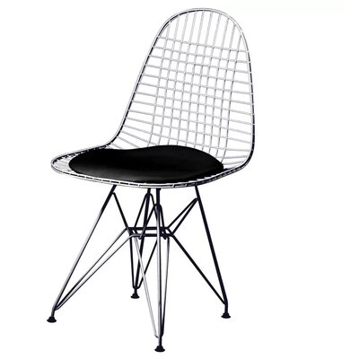 Isenhour Eiffel Wire Side Chair Upholstery: Black, Finish: Chrome/Black