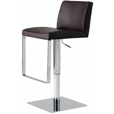 Hosler Hydraulic Adjustable Height Swivel Bar Stool Upholstery: Brown