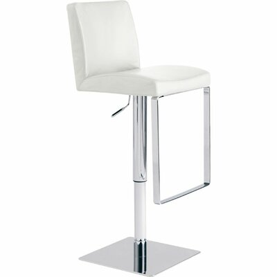 Hosler Hydraulic Adjustable Height Swivel Bar Stool Upholstery: White