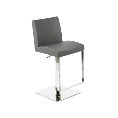 Hosler Hydraulic Adjustable Height Swivel Bar Stool Upholstery: Gray