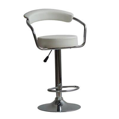 Hutter Adjustable Height Swivel Bar Stool Upholstery: White