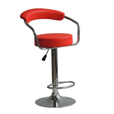 Hutter Adjustable Height Swivel Bar Stool Upholstery: Red