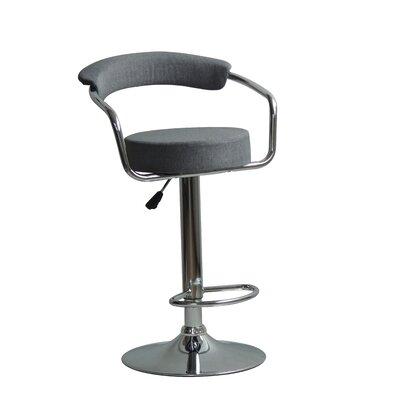 Hutter Adjustable Height Swivel Bar Stool Upholstery: Gray