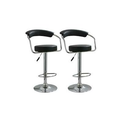 Hutter Adjustable Height Swivel Bar Stool Upholstery: Black