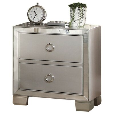Rickard Mirrored 2 Drawer Nightstand