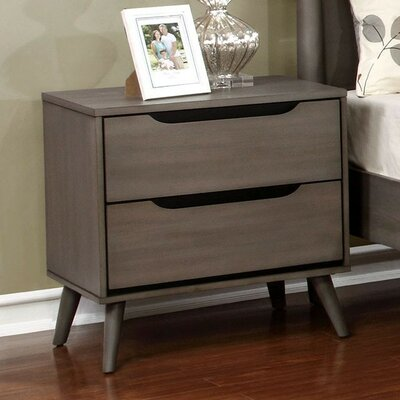 Bayerl 2 Drawer Nightstand Color: Gray