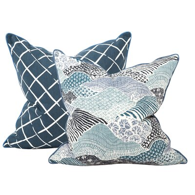 Windsor Park Throw Pillow Color: Ocean, Size: 24 x 24