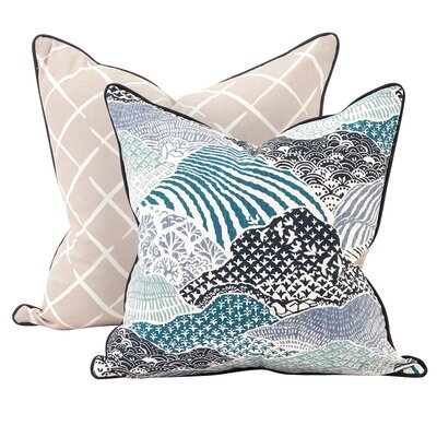 Windsor Park Throw Pillow Color: Indigo, Size: 24 x 24