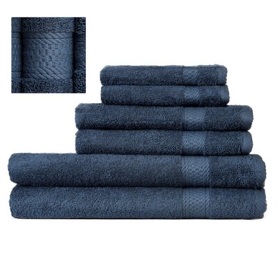 Myona 6 Piece Towel Set Color: Navy