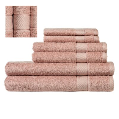 Myona 6 Piece Towel Set Color: Dark Pink