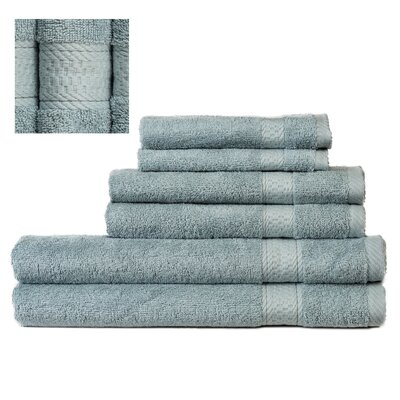 Myona 6 Piece Towel Set Color: Green