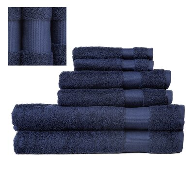 Myles Luxury 6 Piece Towel set Color: Navy
