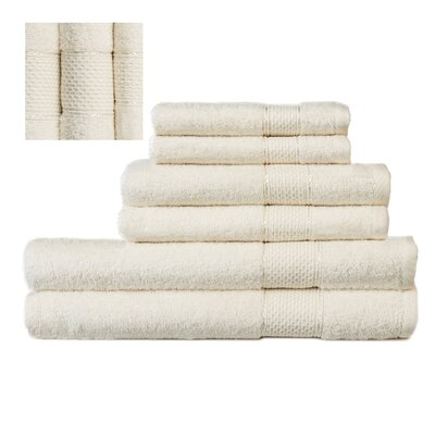 Myron Superior 6 Piece Towel Set Color: Cream