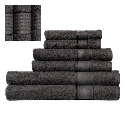 Myron Superior 6 Piece Towel Set Color: Dark Gray