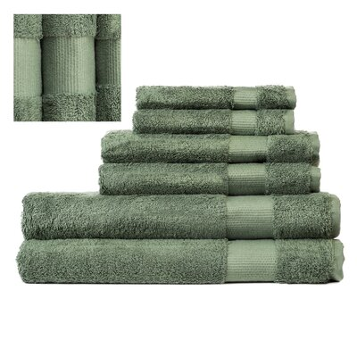 Myles Luxury 6 Piece Towel set Color: Green