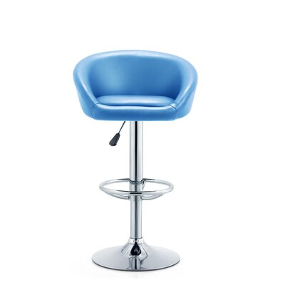 Latania Adjustable Height Swivel Bar Stool Seat Color: Turquoise