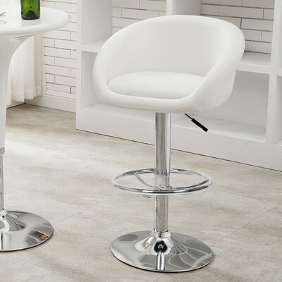 Latania Adjustable Height Swivel Bar Stool Seat Color: White
