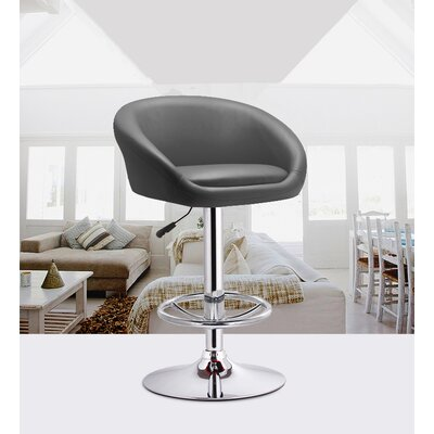 Glynell Adjustable Height Swivel Bar Stool Seat Color: Black