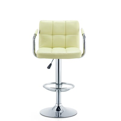 Patch Adjustable Height Swivel Bar Stool Seat Color: Cream