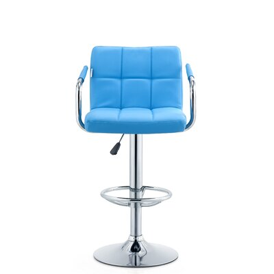 Patch Adjustable Height Swivel Bar Stool Seat Color: Turquoise