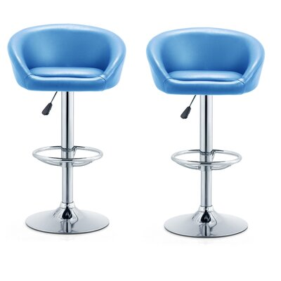 Glynell Adjustable Height Swivel Bar Stool Seat Color: Turquoise