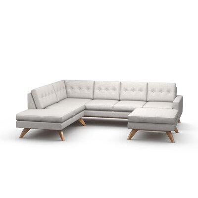 Luna Sectional with Ottoman and Bumper Body Fabric: Klein Dove, Leg Finish: Walnut, Sectional Orientation: Left Facing