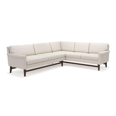 Diggity Corner Sectional Sofa Body Fabric: Klein Dolphin, Leg Finish: Honey, Sectional Orientation: Left Facing