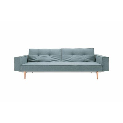 Split Back Sleeper Sofa Upholstery: White Vinyl, Leg Finish: Light Wood