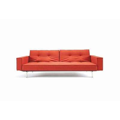Split Back Sleeper Sofa Leg Finish: Stainless Steel, Upholstery: Burnt Orange