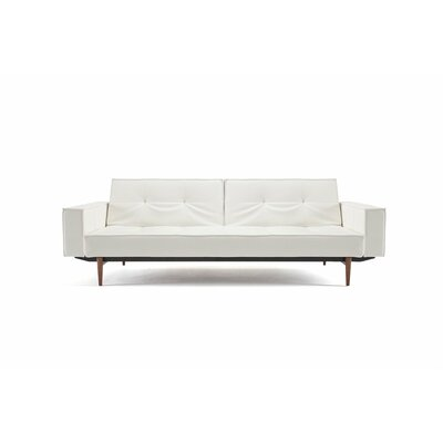 Split Back Sleeper Sofa Leg Finish: Walnut, Upholstery: White Vinyl