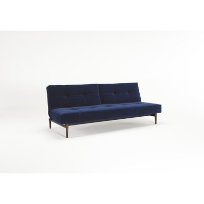 Split Back Sleeper Sofa Leg Finish: Stainless Steel, Upholstery: Black Vinyl