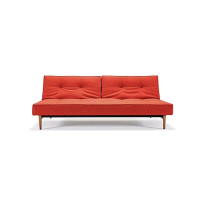 Convertible Sofa Upholstery: Mixed Dance Burned Orange, Leg Finish: Brass