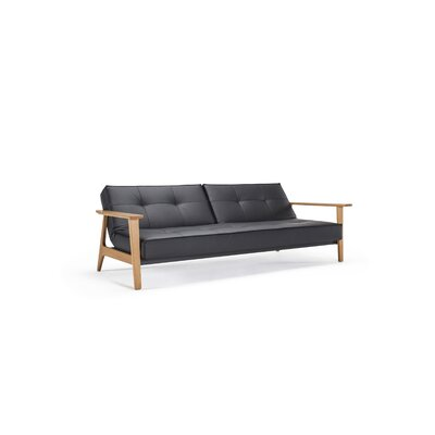 Home Split back Sofa Finish: Lacquered Oak Arms and Legs, Upholstery: Mixed Dance Blue