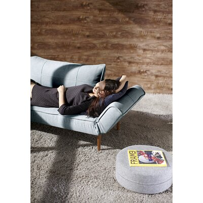 Zeal Deluxe Convertible Sofa Upholstery: Medium Blue, Leg Finish: Dark Wood