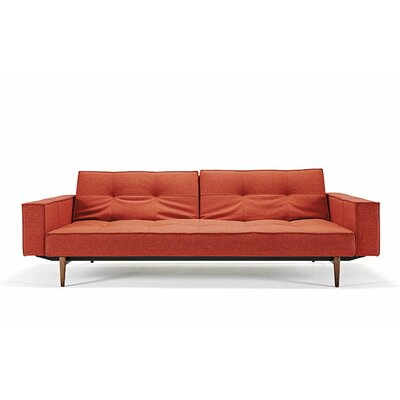 Split Back Sleeper Sofa Upholstery: Burnt Orange, Leg Finish: Walnut
