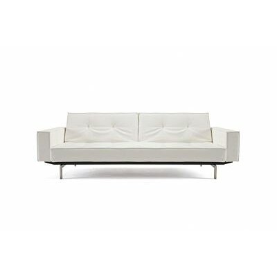 Split Back Sleeper Sofa Leg Finish: Stainless Steel, Upholstery: White Vinyl