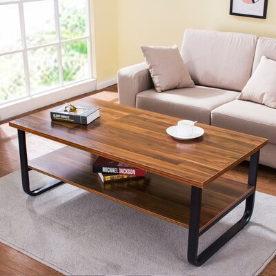 Polster Coffee Table with Lower Storage Shelf