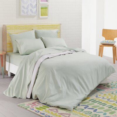 Nessa Solid 100% Cotton Reversible Duvet Set Size: King