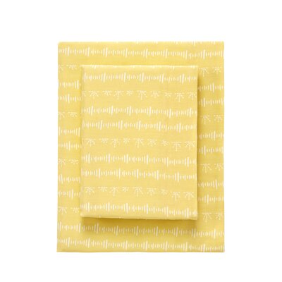 Sophia Printed 3 Piece 230 Thread Count 100% Cotton Sheet Set Color: Lemongrass, Size: Twin