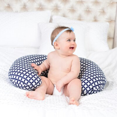 Diamond Nursing Cotton Bed Rest Pillow Color: Navy