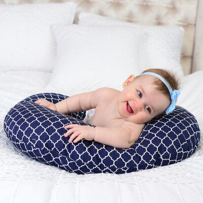 Quatrefoil Nursing Cotton Bed Rest Pillow Color: Navy