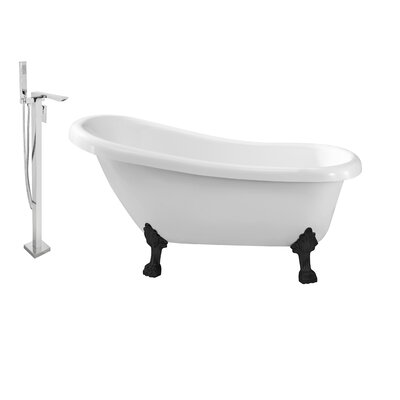 61 x 32 Clawfoot Soaking Bathtub Feet Finish: Black