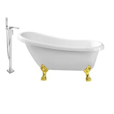 61 x 32 Clawfoot Soaking Bathtub Feet Finish: Gold