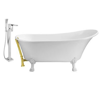 67 x 32 Clawfoot Soaking Bathtub Feet Finish: White, Finish: Gold