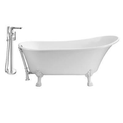 67 x 32 Clawfoot Soaking Bathtub Feet Finish: White, Finish: Chrome