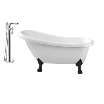61 x 32 Clawfoot Soaking Bathtub Feet Finish: Black