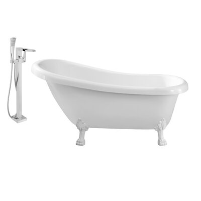61 x 32 Clawfoot Soaking Bathtub Feet Finish: White