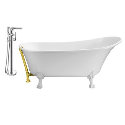 67 x 32 Clawfoot Soaking Bathtub Feet Finish: White, Finish: Gold