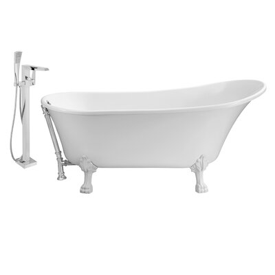 67 x 32 Clawfoot Soaking Bathtub Feet Finish: White, Finish: Chrome