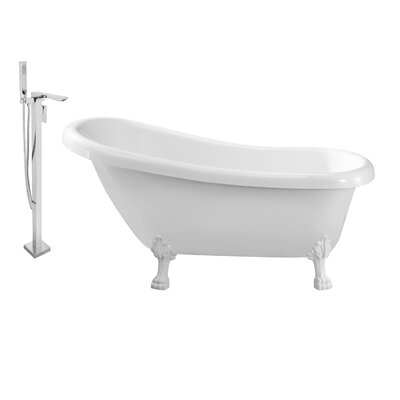 61 x 32 Clawfoot Soaking Bathtub Feet Finish: White